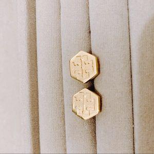 Tory Burch gold logo hexagon earrings